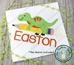 Dinosaur on Pencil Rocket Applique Design ~ Back To School